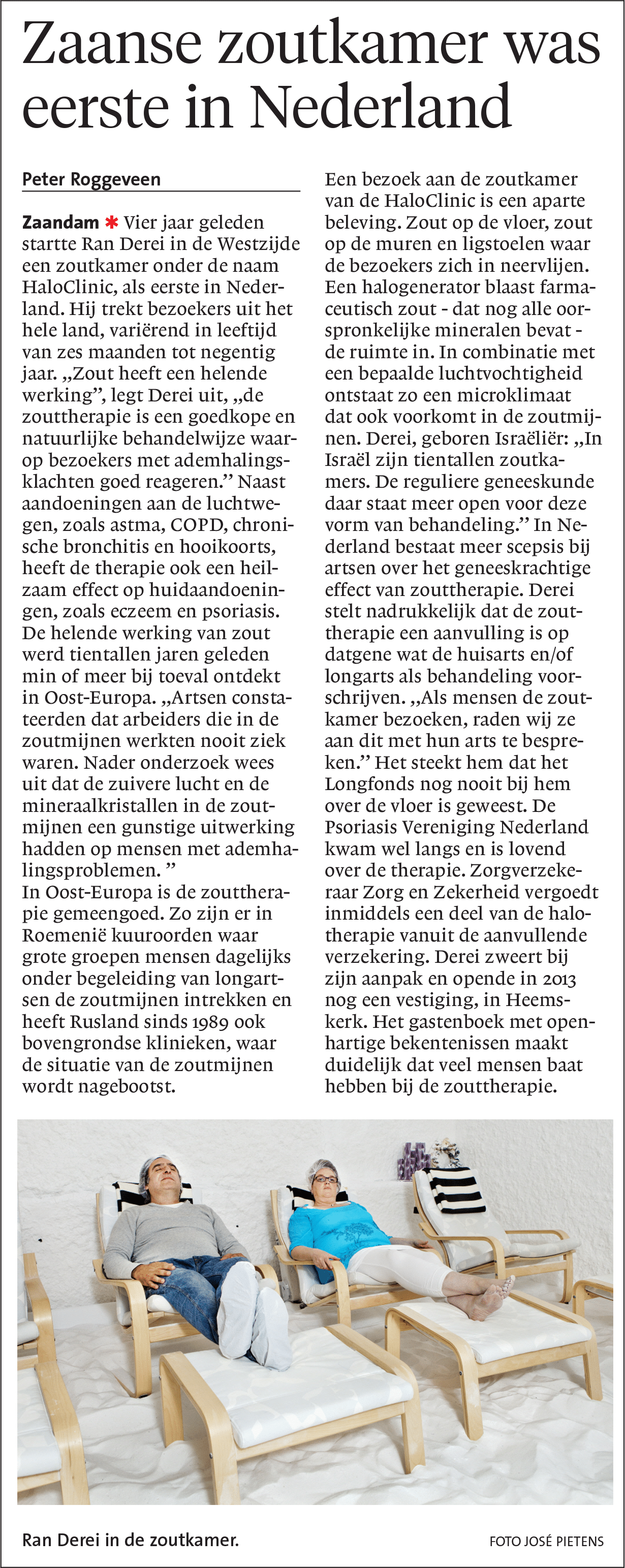 Noord-hollands dagblad artikel over HaloClinic