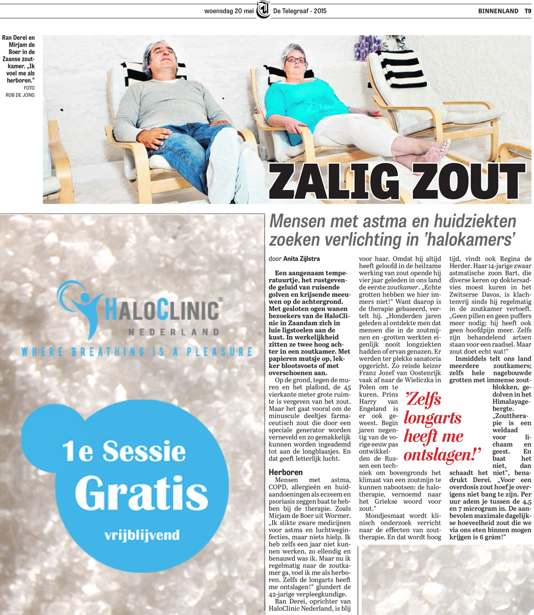 Haloclinic in de Telegraaf